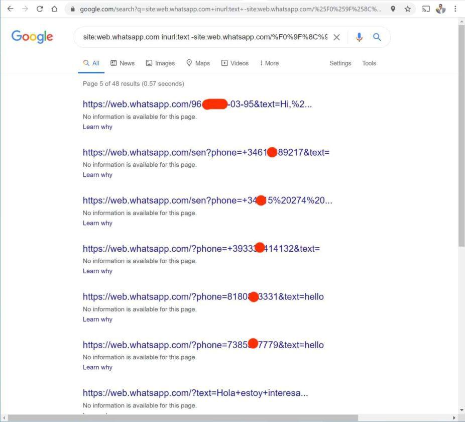 WhatApp numeri indicizzati Google