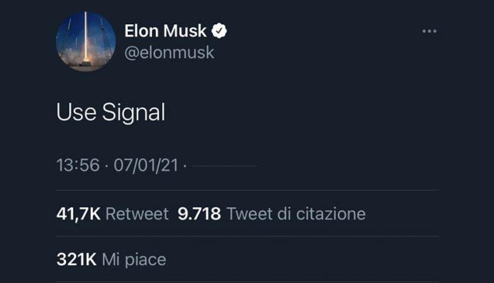 elon musk use signal twitter