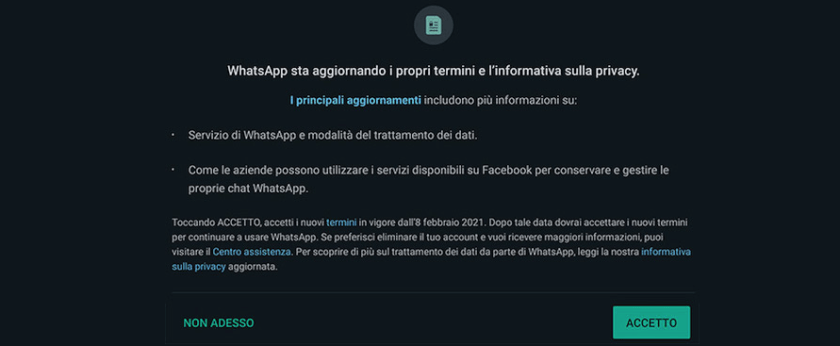 Finestra policy WhatsApp