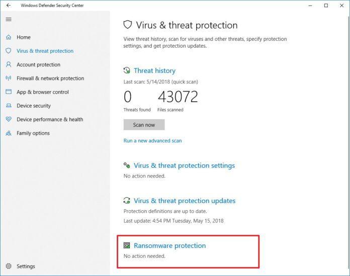 Windows 10 anti ransomware
