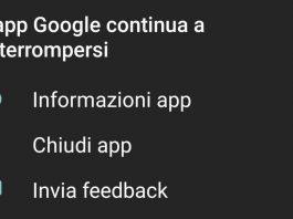 app Google continua a interrompersi